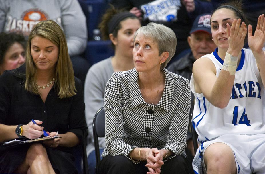 Bentley women's basketball coach Barbara Stevens watched the clock while on the bench.